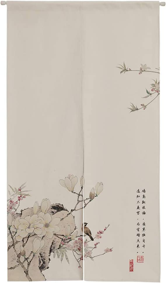 """Ofat Home Japanese Doorway Curatin, Chinese Traditional Creamy Bird-and-Flower Ink Painting Door Curtain 33.5""""x 59"""" Door Curtain for Kitchen Bistro Partition Shading Home Decorative"""
