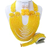acuzv Beaded Necklace African Beads Jewelry Set for Brides Bridesmaids Wedding Bridal Jewelry Sets