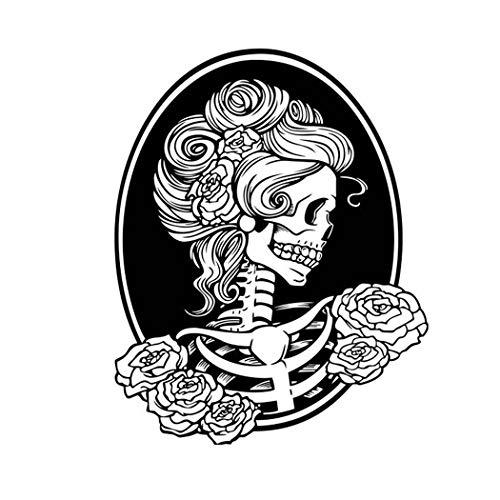 ManxiVoo Happy Halloween Femme Skeleton Skull Wall Decals Stickers for Kids Rooms Nursery Halloween Party Supplies (Black)]()