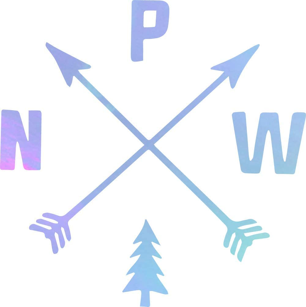 NBFU DECALS Pacific Northwest PNW Hiking (Hologram) (Set of 2) Premium Waterproof Vinyl Decal Stickers for Laptop Phone Accessory Helmet Car Window Bumper Mug Tuber Cup Door Wall Decoration