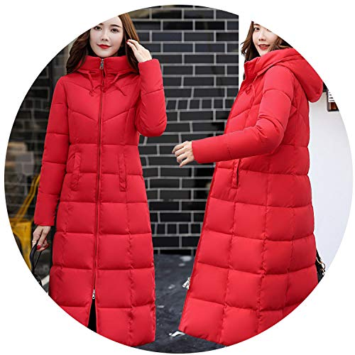 Winter Down Coat Women Long Parka White Duck Cotton Coats Female Outerwear Thick Jacket,red,XL