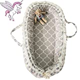 Brandream Baby Nest with Removable Cover Baby Lounger Potable Crib Newborn Cocoon Snuggle Bed, Coral Unicorn, Gray and White