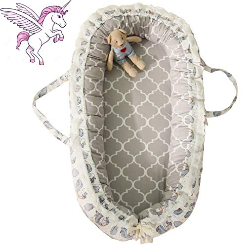 Brandream Baby Nest with Removable Cover Baby Lounger Potable Crib Newborn Cocoon Snuggle Bed, Coral Unicorn, Gray and - Newborn Cocoon