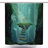 gazebo curtains home depot vanfan-Durable Shower Curtains Fantasy Island With Gazebo Floating In The Space_ Polyester Bathroom Shower Curtain Set With Hooks(69 x 90 inches)