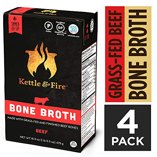 Beef Bone Broth Soup by Kettle and Fire, Pack of 4, Keto Diet, Paleo Friendly, Whole 30 Approved, Gluten Free, with Collagen, 10g of protein, 16.9 fl oz (Packaging May Vary)