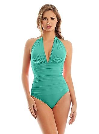 af791486bd5b4 Magicsuit Women's Magic Solids Claudia One Piece Halter Swimsuit Pool 8