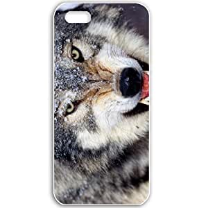 Apple iPhone 5 5S Cases Customized Gifts For Animals mad wolf Animals Birds White