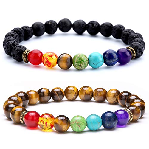 - Doitory Men Women 8mm Lava Rock 7 Chakra Essential Oil Charms Bracelet Elastic Natural Stone Yoga Beads Bracelet Bangle-21001 (2 Pcs Set 1-21001)