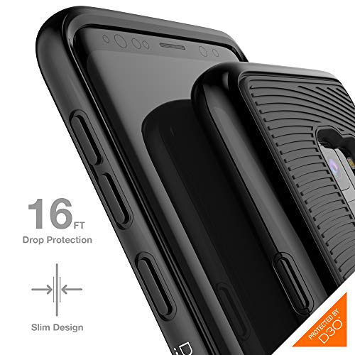 Gear4 31486 Battersea Hardback Case with Advanced Impact Protection [ Protected by D3O ], Glass Back Protection, Slim, Tough Design for Samsung Galaxy S9, Battersea, Black