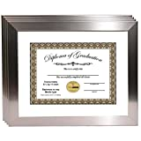 CreativePF [11x14ss-w] Stainless Steel Finish Diploma Frames with 11x14-inch White Mat to Hold 8.5 by 11-inch Graduation Documents w/ Stand and Wall Hanger (4-pack)