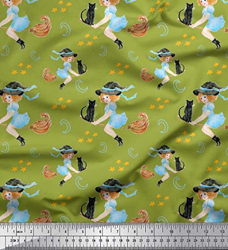 Soimoi Green Georgette Viscose Fabric Star,Bat & Witch Halloween Printed Craft Fabric by The Yard 42 Inch Wide -