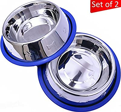 Mr. Peanut's Set of 2 Etched Stainless Steel Dog Bowls - Easy to Clean - Bacteria & Rust Resistant - Non-Skid No-Tip Silicone Ring - Feeding Bowls for Dogs by Mr. Peanut's Pet ProductsTM