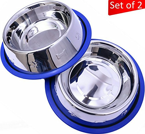 Tip Bowl (Set of 2 Etched Stainless Steel Dog Bowls by Mr. Peanut's, Easy to Clean, Bacteria & Rust Resistant, with Non-Skid No-Tip Silicone Ring, Feeding Bowls for Dogs (2 Pak / 32oz Each Bowl))