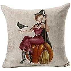 Witch Pumpkin Crow Halloween Home Decor Design Throw Pillow Cover Pillow Case 18 x 18 Inch Cotton Linen for Sofa