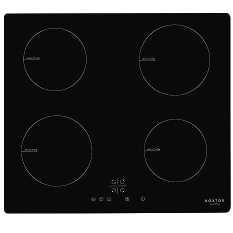 NOXTON 60cm Placas de Inducción Vidrio Negro Cocina eléctrica integrada de 4 Zonas Domino con Control táctil del Sensor