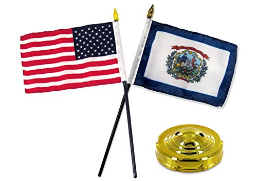 ALBATROS West Virginia State with USA America American Flag 4 inch x 6 inch Desk Set with Gold Base for Home and Parades, Official Party, All Weather Indoors Outdoors -