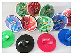 Amazoncom 12 Pj Masks Rings Cupcake Toppers Birthday