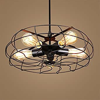 JhyQzyzqj Pendant Lights Chandeliers Ceiling Lights Industrial wind creative personality aisle warehouse bedroom living room balcony LED retro iron electric fan 600MM