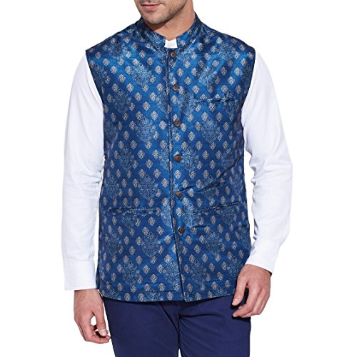 ShalinIndia Indian Nehru Collar Jacket - Size 42- Faux Silk - Digitally Printed for Longevity - Perfect for Formal Events