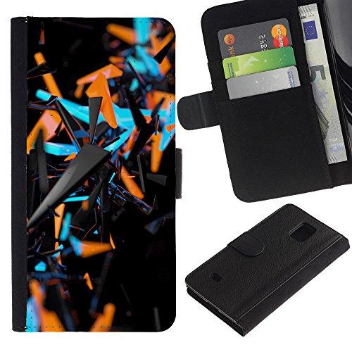 WonderWall (Pas S5) Fond D'Écran IMAGE CARTES FENTES EN PORTEFEUILLE FLIP CUIR RIGIDE COQUE HOUSSE FINE ETUI CASE POUR Samsung Galaxy S5 Mini, SM-G800 - orange bleu abstrait 3 D motif noir