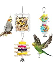 Pawaboo Pet Bird Foraging Toys, Parrot Bite Toys Creative Feeder Toy Bird Tearing Entertaining Toys with An Acrylic Box Food Holder, Intelligence Growth Cage Toy for Anchovies, Parakeets, Cockatiel