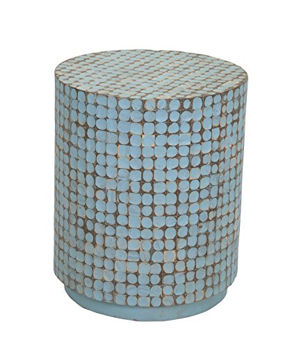 Crafted Home Decorative Shelby Round Side Table, Large, Blue by Crafted Home