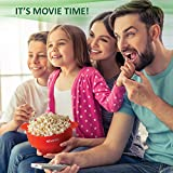 PowerLix Microwave Popcorn Popper, Collapsible Silicone Bowl, Hot Air Popcorn Maker, Healthy Machine No Oil Needed, BPA PVC Free With Lid AND Convenient Handles, Measuring cup Include (Red)