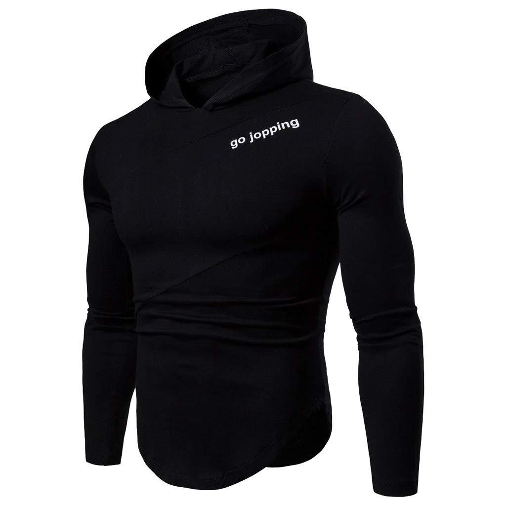 HULKAY Hooded Sweatshirt for Men Thin Irregular Patchwork Letter Print Long Sleeve Hoodie Tops Blouses
