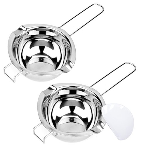 Tebery 2 Pack Stainless Steel Universal Double Boiler, Baking Tools, Melting Pot for Butter Chocolate Cheese Caramel Bonus 1 Plastic Scraper