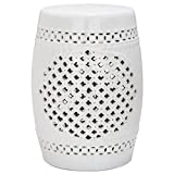 Safavieh Castle Gardens Collection Quatrefoil White Ceramic Garden Stool