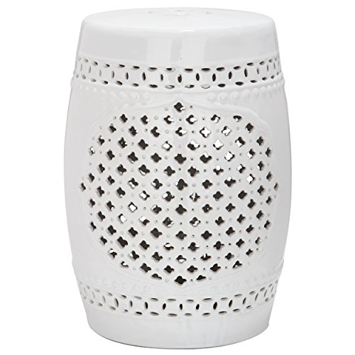 - Safavieh Castle Gardens Collection Quatrefoil White Ceramic Garden Stool