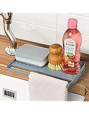 YOHOM Kitchen Sink Sponge Holder Organizer for Countertop Soap Tray Dishwashing Sponge Holder with Suction Cups Dish Cloth Holder in Sink Scrubber Holder