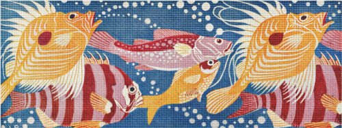 (Art Needlepoint School of Fish Needlepoint Pillow)