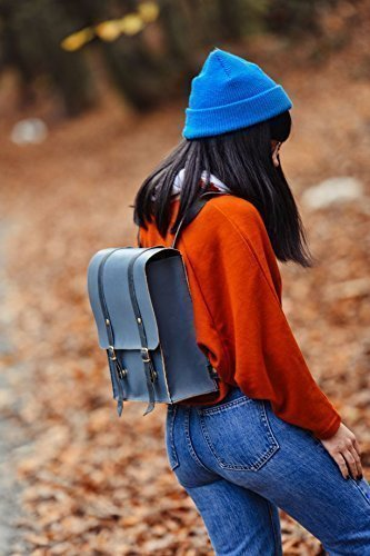 Blue Leather Handmade Backpack
