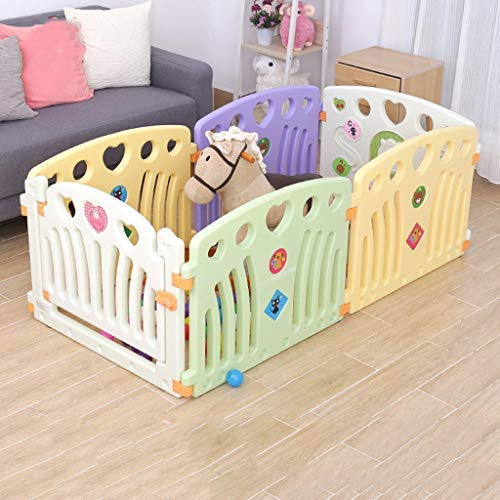 SISHUINIANHUA Baby Play Fence, Children's Playground, 6 Panel Plastic Portable Outdoor Portable Outdoor Baby Gate Door Playground, 72 150Cm
