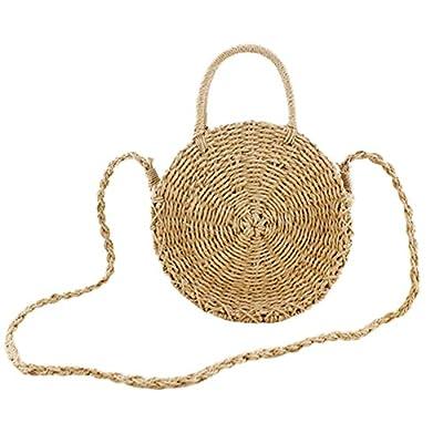 Obosoyo Straw Crossbody Bag Women Weave Shoulder Bag Round Summer Beach Sea Tote Handbags