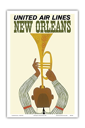 Pacifica Island Art New Orleans - Jazz Trumpet Player - United Air Lines - Vintage Airline Travel Poster c.1960s - Master Art Print - 12in x ()
