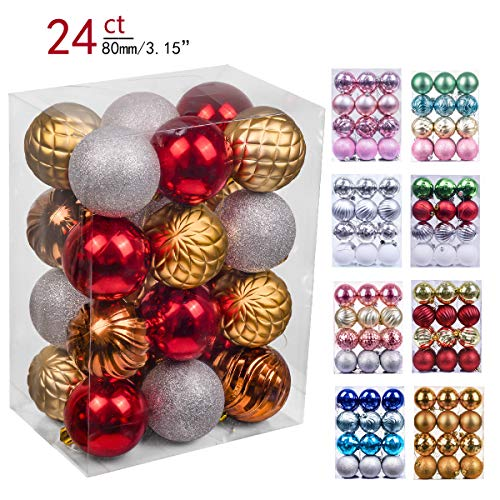 Valery Madelyn 24ct 80mm Woodland Red Brown Shatterproof Christmas Ball Ornaments Decoration,Themed with Tree Skirt(Not Included)