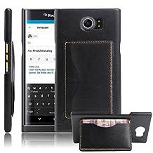 Fettion Blackberry Priv Case, Premium PU Leather Wallet Cases Flip Cover with Stand Card Holder for Blackberry Priv 2015 Smartphone (Bracket - Black)