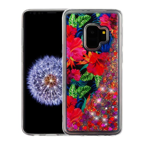 for Samsung Galaxy S9 Electric Hibiscus & Magenta Hearts Quicksand Glitter - Heart Magenta