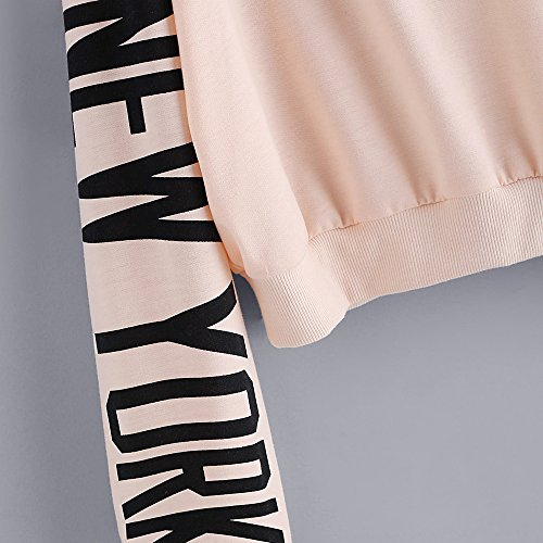 Sleeve Femme Manches Beige Long Tops Letters Sweat Chemisier Longues Beikoard Amples Casual Chemisier Shirt Tops Femmes Pullover Sweat dSptnCPxw