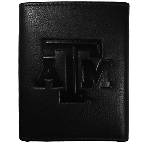 Siskiyou NCAA Texas A&M Aggies Embossed Black Tri-fold Leather Wallet