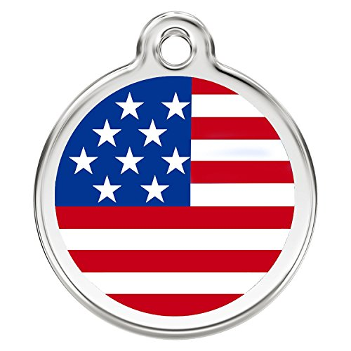CNATTAGS Stainless Steel with Enamel Pet ID Tags Personalized (Flag USA)