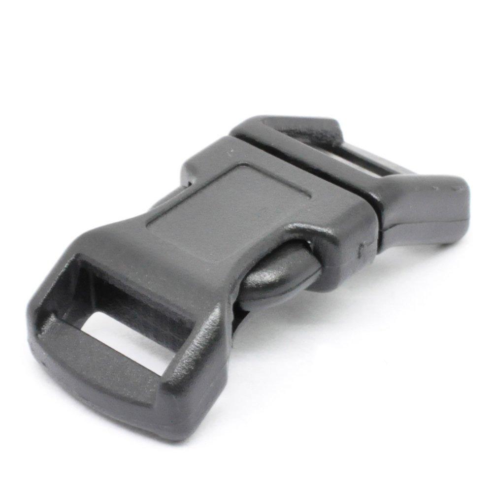LIHAO 25 PCS 1'' Black Contoured Side Release Plastic Buckles