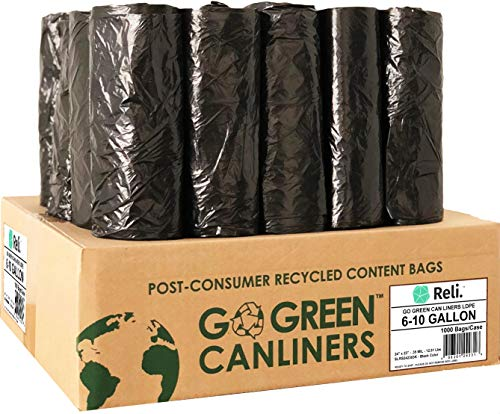 Reli. Recyclable Eco-Friendly Trash Bags, 6-10 Gallon (1000 Count) - Made from Recycled Content (SCS Certified) - Go Green Canliners - Environment-Friendly Garbage Bags (6 Gallon - 10 Gallon) (Black)