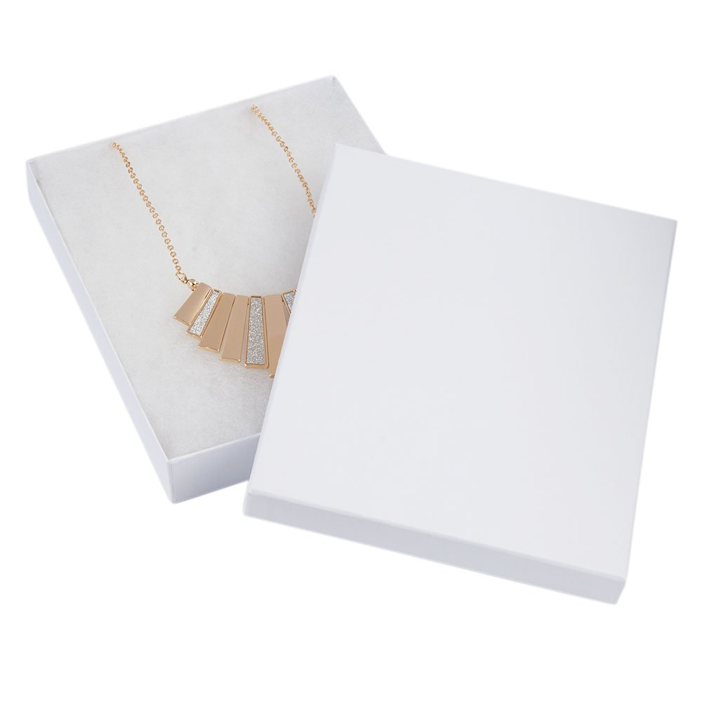 SSWBasics 7 x 5 ½ x 1 inch White Embossed Cotton Filled Jewelry Boxes - 100 Pack
