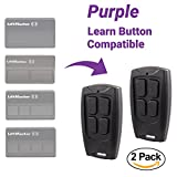 #5: 2 Pack - Replacement Remote for Liftmaster Chamberlain Craftsman Garage Door Openers with PURPLE Learn Button 315MHz