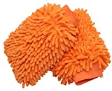 #4: Karsw Microfiber Premium Chenille Car Wash Mitts Scratch-Free Cleaning Gloves Ultra-soft Polishing Cloth,Double Sided,Orange,2 Pcs