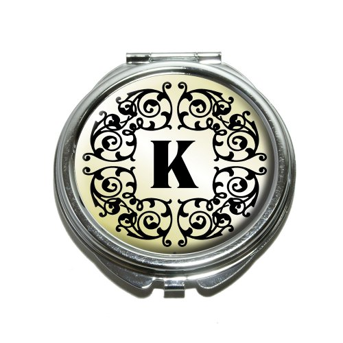 - Letter K Initial Black White Tan Compact Purse Mirror