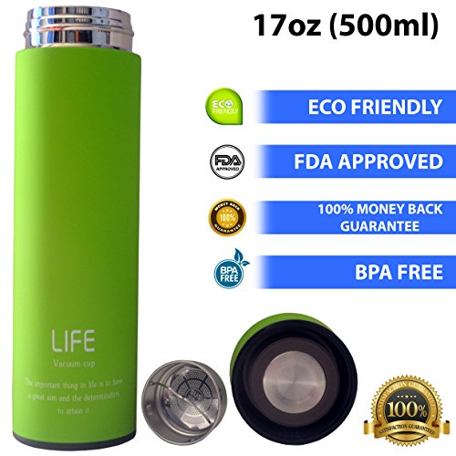 ZuriMug 17 oz (500 ml) Double-Wall Thermal Stainless Steel Bottle - Thermos Water Bottle – Vacuum Water Bottle with Tea Infuser - FDA Approved - BPA Free
